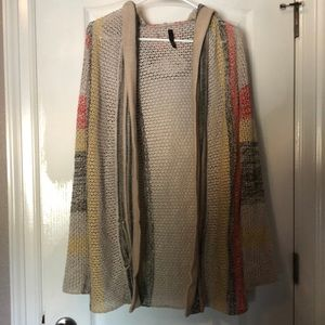 Elan Hooded Multicolored Open Knit Cotton Cardigan